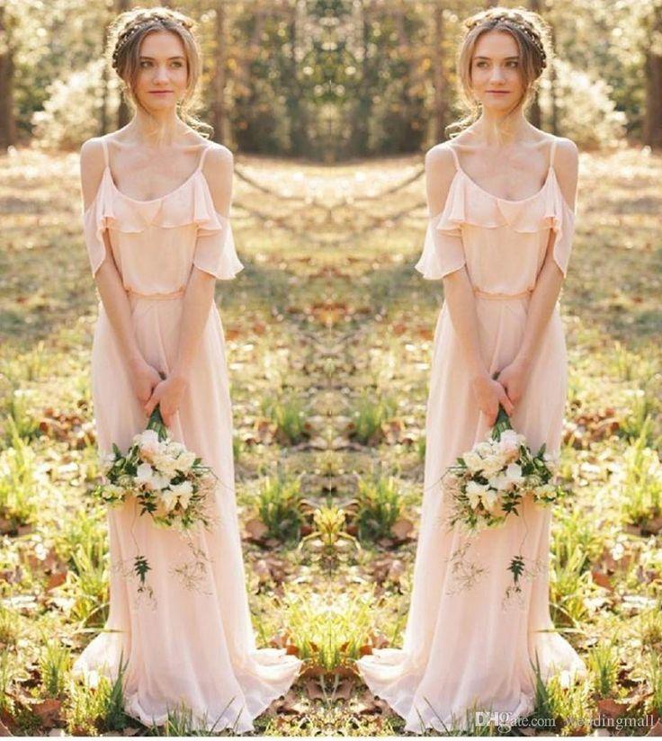 Bohemian Country Bridesmaid Dresses Spaghetti Straps Sheath Floor ...