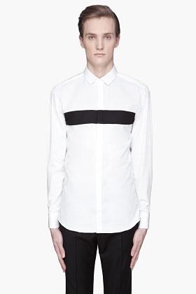 NEIL BARRETT White paneled Tuxedo Shirt