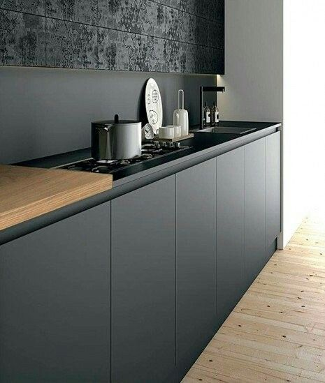 Black cabinets and tiles