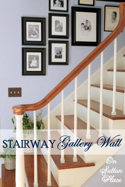 Stairway Gallery Wall ~ Part Of This Home Tour That Showcases Classic Decor  With Vintage Touches