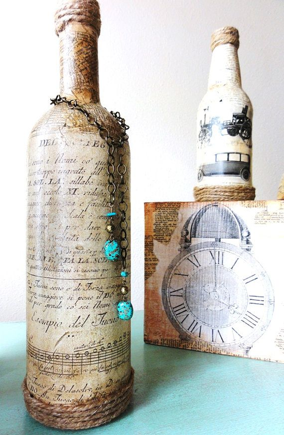 Vintage Bottle with old Sheet Music Label and Italian Dictionary Pages