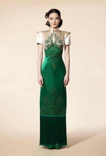 NE Tiger emerald green silk dress with mandarin collar