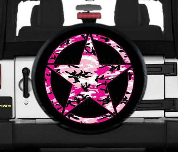 Jeep Star Pink Camo Spare Tire Cover