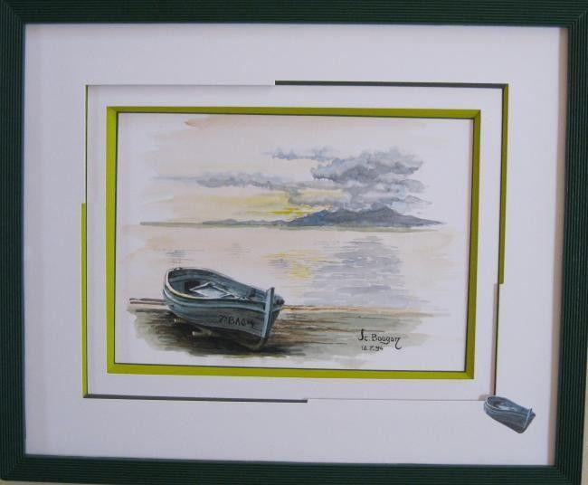 marine (Peinture) par Mad double biseau anglais atour de l'aquarelle, biseau anglais a l'etage superieur , passe partout asymetrique et rappelle de la barque