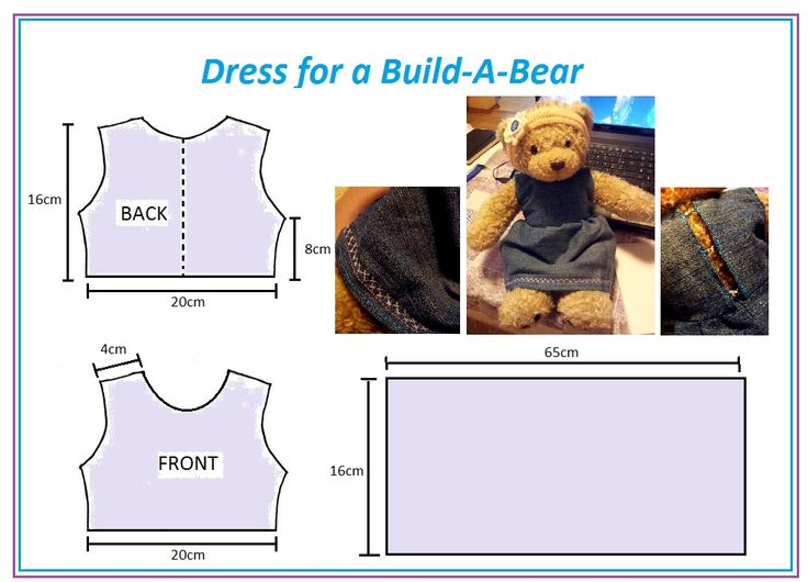 """Making a dress for a """"Build-a-Bear""""  Part 1: a) cut out the needed pieces. b) hem the skirt piece of fabric. c) take the back piece and cut where dotted line is shown; then hem the two sides"""