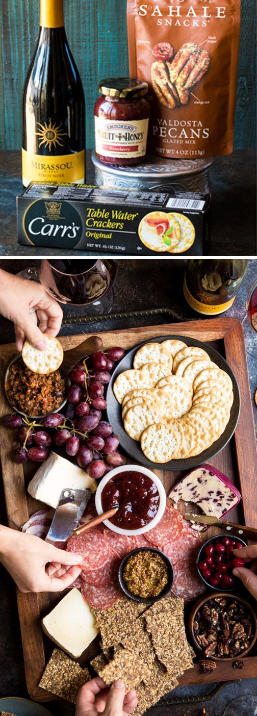 This Winter Holiday Charcuterie Board is like no other appetizer recipe. By pairing Smucker's Strawberry Fruit and Honey Spread, Sahale Snacks Valdosta Pecans Glazed Mix, and Carr's Table Water Crackers with hearty salamis, cured meats, cheeses, and Mirassou Pinot Noir, every guest can find their perfect pairing of savory and sweet flavors. For more easy entertaining ideas, head to Target as your guide to delicious party essentials