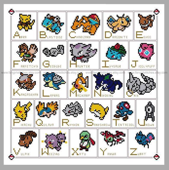 Pokemon parody Alphabet ABC Cross Stitch  PDF by FangirlStitches                                                                                                                                                                                 More