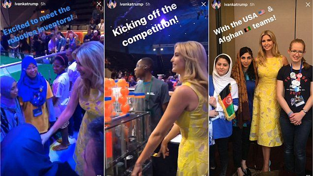 Ivanka Trump visited the FIRST Robotics Competition on Tuesday, meeting the robots' young inventors and enjoying some selfies with the US and Afghan teams.