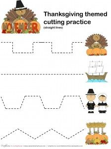Thanksgiving cutting practice -- straight lines; www.makeoversandmotherhood.com