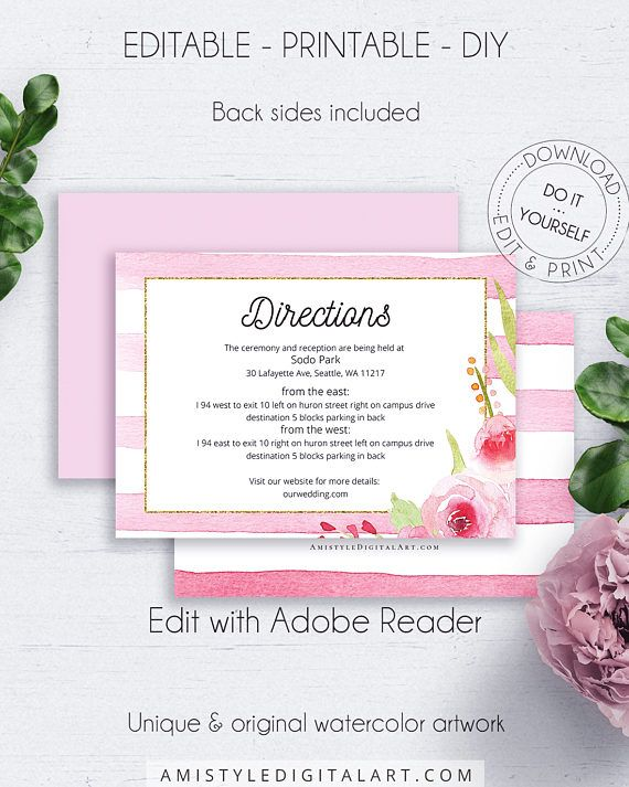 Bohemian Wedding Directions Card, with gorgeous and lovely watercolor floral graphics, for the lovers of the boho and shabby chic styles.This delightful wedding directions insert card template is an instant download EDITABLE PDF pack so you can download it right away, DIY edit and print it at home or at your local copy shop by Amistyle Digital Art on Etsy