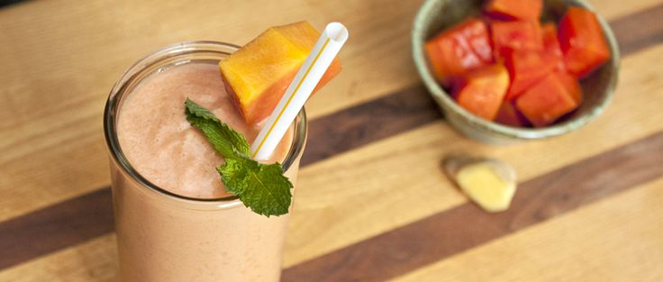 Try this easy-to-make papaya ginger smoothie recipe packed with protein, probiotics and plenty of vitamin C in honor of National Papaya Month.