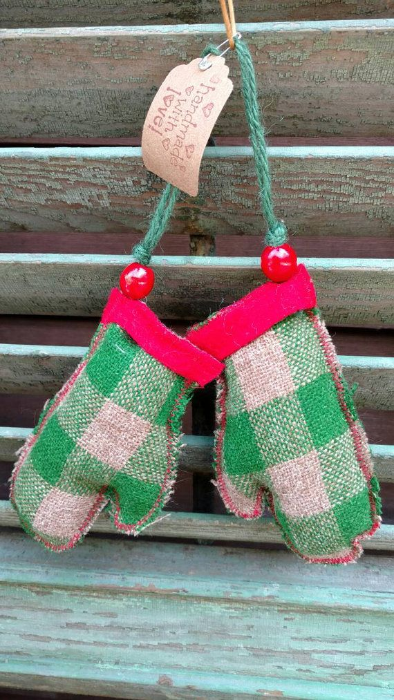 Primitive pair of wool mitten ornaments with by 518Frenchgirl