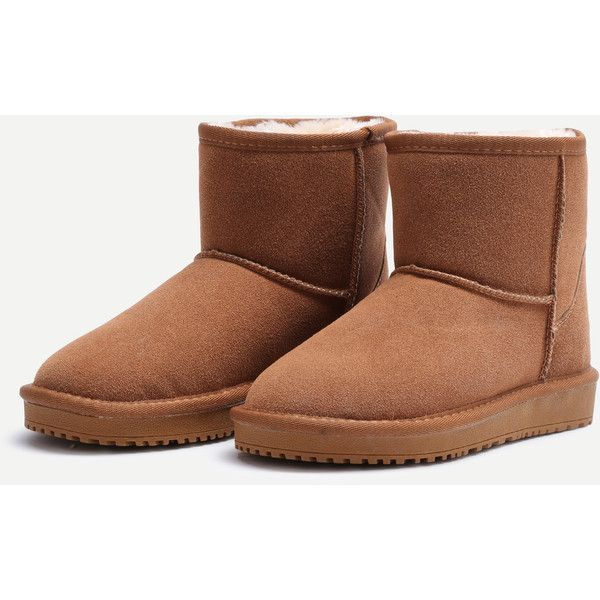 SheIn(sheinside) Camel Suede Fur Lined Flat Snow Boots ($43) ❤ liked on Polyvore featuring shoes, boots, rounded toe boots, camel shoes, flat winter boots, round toe flat shoes and short winter boots