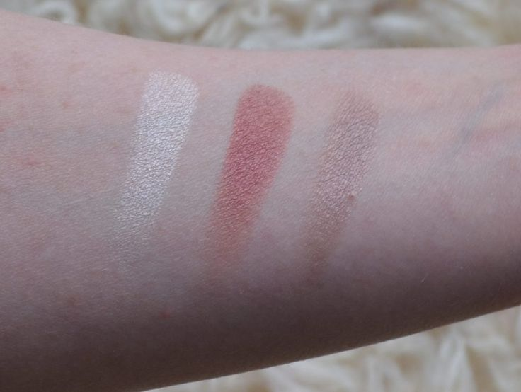 MAC eyeshadow swatches from left to right: Nylon, Cranberry, Satin Taupe