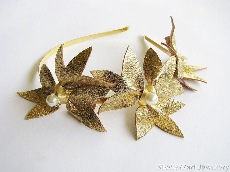 Gold Leather Flower Crown Fascinator Horse racing Headpiece Races Headband