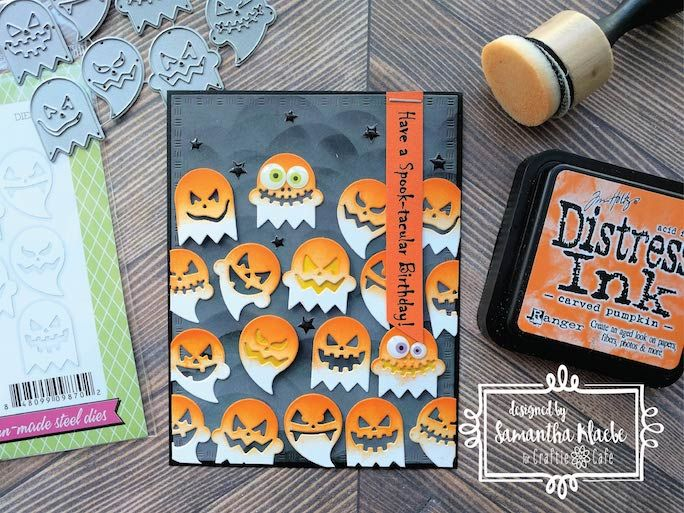 Whilst Samantha personally doesn't celebrate Halloween, she has sportingly created a fun project for us today! The awesome colour scheme of orange, purple and black is one that she has enjoyed working with! A big fan of reusing craft supplies, Samantha decided on the Impression Obsession Die Ghosties and here's how it turned out!  Blog Instructions:http://ow.ly/AD6P30f5jee