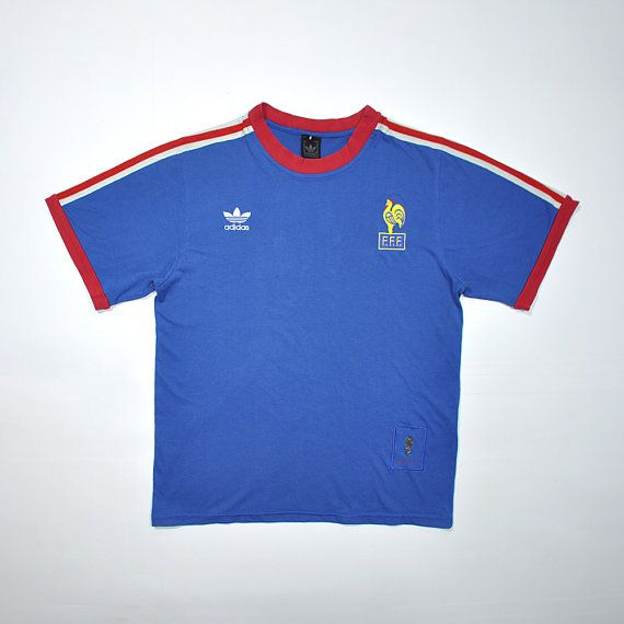 Rare Vintage Adidas France 1974 Fifa World Cup Jersey Shirt Retro Old School Adidas Tee Shirt In 2020 Distressed Shirt Vintage Adidas Clothes Design