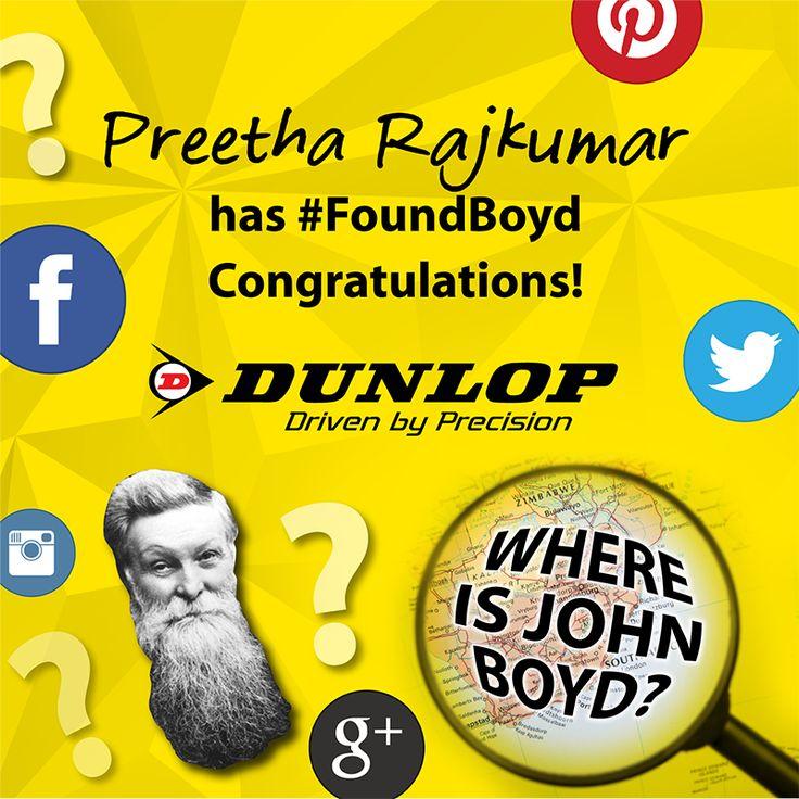 Congratulations to Preetha Rajkumar for winning week 2 of #FindingBoyd!