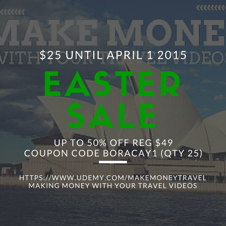 on-line video course promotion. 50% off https://www.udemy.com/makemoneytravel/?couponCode=boracay1