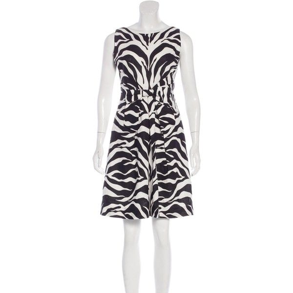 Pre-owned Kate Spade New York Zebra Print Mini Dress ($70) ❤ liked on Polyvore featuring dresses, animal print, kate spade, white day dress, white bow dress, white mini dress and print mini dress