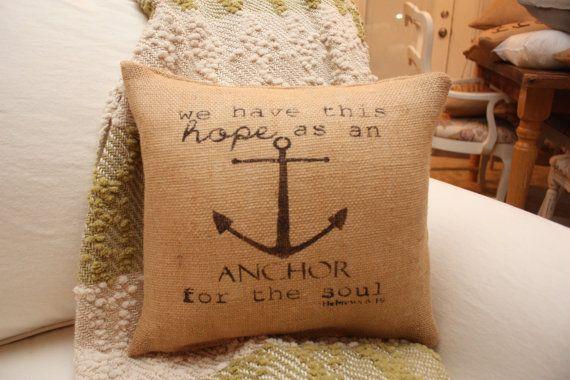 Hebrews 619 Burlap Throw Pillow / Anchor Pillow by HeSheChic, $28.00