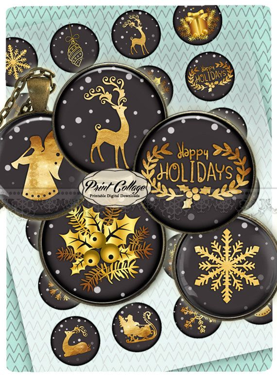 Cabochon images Digital Collage Sheet Winter in Gold 1.5 inch 18mm 14mm 1 inch round Printable images digital download Bottle Cap image c218 - pinned by pin4etsy.com