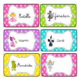 des étiquettes prénoms sur le thème des contes/ fairytales names tags
