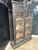 Hand Painted Black Solid Mahogany Display Cabinet Asian Inspired Whitewash Distressed featuring Iron Turn-Style Handle & Drfitwood Inside- $2,975.00