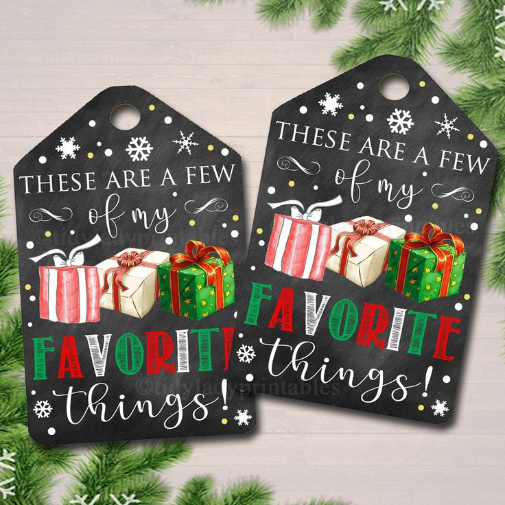 Favorite Things Party Gift Tags, Teacher, Printable Labels, Girl's Xmas Party Ladies Stocking Stuffer, Christmas Favor Tag, INSTANT DOWNLOAD by TidyLadyPrintables on Etsy https://www.etsy.com/listing/567382622/favorite-things-party-gift-tags-teacher