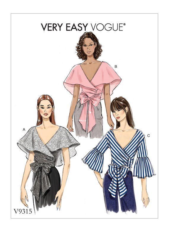 Sewing Pattern for Misses WRAP TOPS, Vogue Pattern 9315, Womens Wrap ...