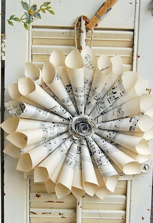 10 Paper Wreaths / Pew Markers / Vintage Sheet by roseflower48, $100.00
