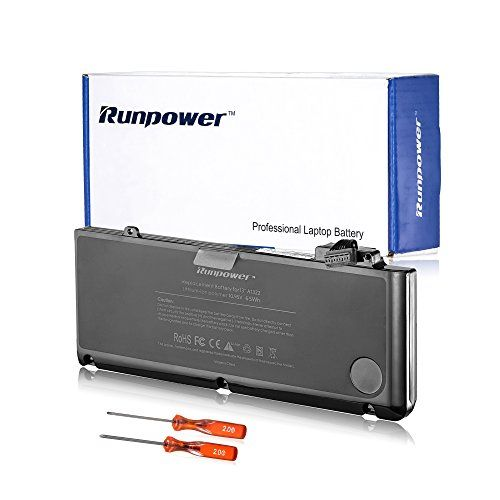 From 29.99:Runpower New Laptop Battery For Apple A1322 A1278 (2009 2010 2011 2012 Version) Unibody Macbook Pro 13''  Two Free Screwdrivers - 18 Months Warranty [li-polymer 6-cell 65wh/6000mah]