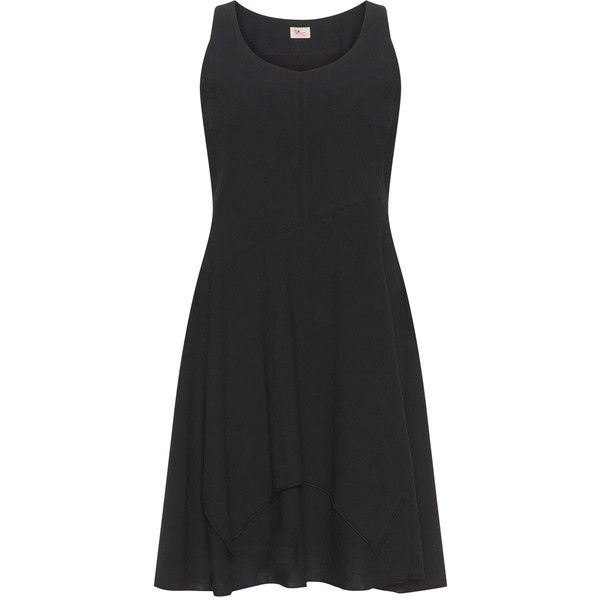 Heart Black Plus Size Layered linen-blend dress ($78) ❤ liked on Polyvore featuring dresses, black, plus size, plus size special occasion dresses, plus size holiday dresses, knee length evening dresses, womens plus dresses and knee length summer dresses
