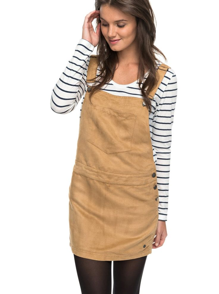 roxy, Chase The Sun Faux Suede Dungaree Dress, CURRY (tjq0)