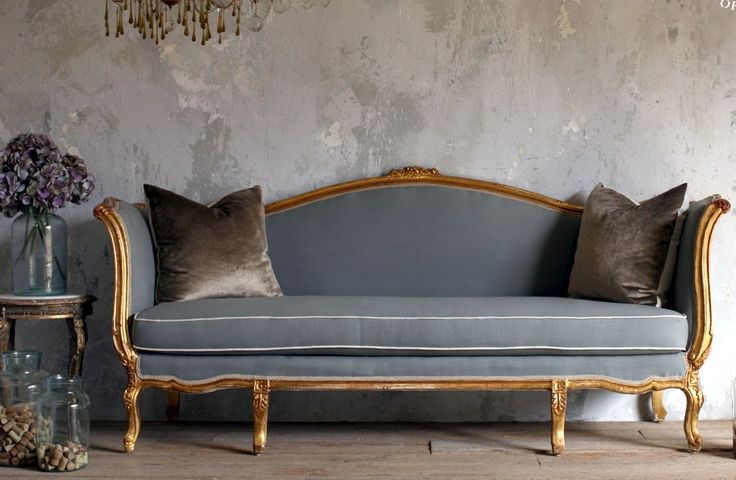 Vintage Shabby French Louis Xv Style Gilt Daybed Sofa Blue Serpentine Antique Furniture Sofa