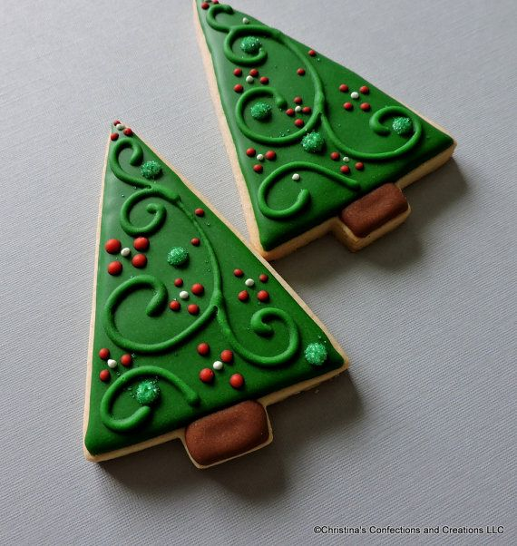 Modern Style Large Christmas Tree Decorated Sugar Cookies by 3CSC