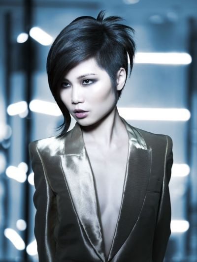 futuristic cross bob pixie haircut asian women