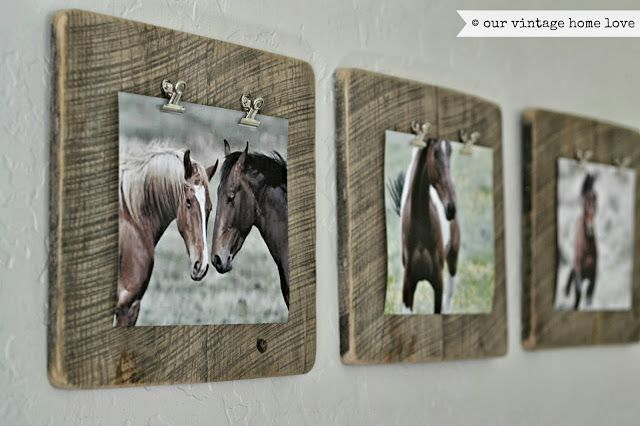 our vintage home love (artwork for the wall using barn wood and horse photos that I found online)