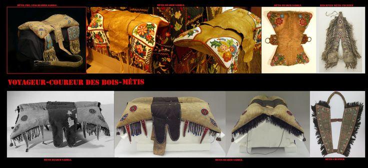 La cultura dei Métis Red River era fortemente influenzata da quella dei Plains Cree, come loro cacciavano i bisonti a cavallo nelle praterie settentrionali, selle e finimenti erano praticamente identici a quelli dei Cree.