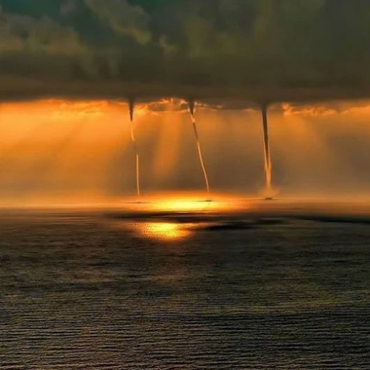 What is a waterspout? A waterspout is a whirling column of air and water mist. Waterspouts fall into two categories: fair weather waterspouts and tornadic waterspouts.  Tornadic waterspouts are tornadoes that form over water, or move from land to water. They have the same characteristics as a land tornado. They are associated with severe thunderstorms, and are often accompanied by high winds and seas, large hail, and frequent dangerous lightning.