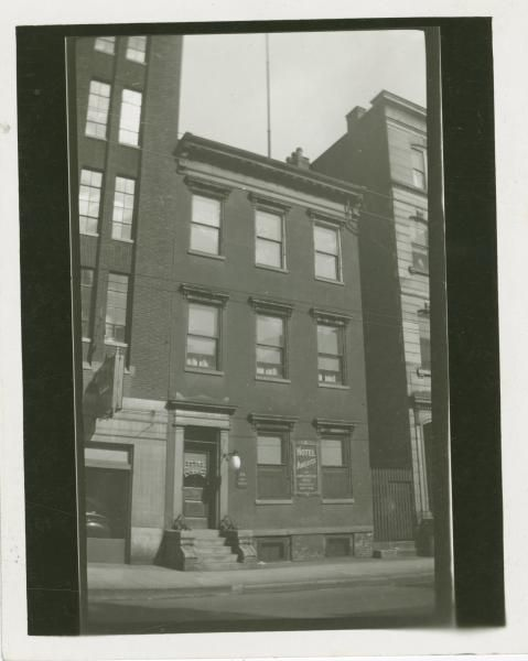 "Dated January 1938, this photograph shows the Burnside House in Cincinnati, Ohio, in Hamilton County. The Burnside House was located on the block of East Ninth Street at 24 East Ninth, which is now the Public Library of Cincinnati. This three story red brick building was once General Burnside's headquarters during the Civil War. Ambrose Burnside was a Union Army General, as well as a politician, industrialist and an inventor. It was from this house that he issued Order 38, which stated ""The…"