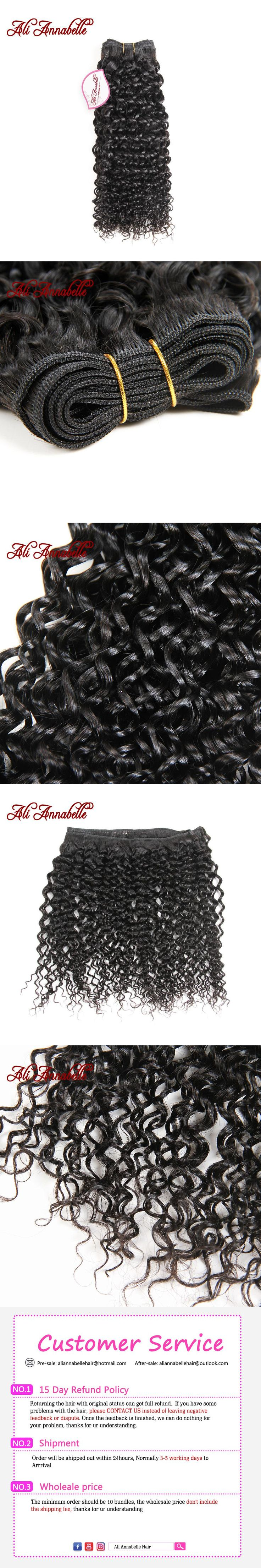 "ALI ANNABELLE HAIR Kinky Curly Malaysian Hair Weave Bundle 100% Human Hair Bundles #1b Can Be Dyed Hair Extensions 10""-28"""