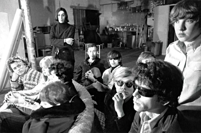 Gerard Malanga, Nico, John Cale, Sterling Morrison, Andy Warhol, Lou Reed and Maureen Tucker of The Velvet Underground hanging out at The Factory. 1966. *** HIGHER RATES APPLY: CALL TO NEGOTIATE *** NO SKIN / TAB MAGS *** NO UK SALES *** © Nat Finkelstein / Retna Ltd.
