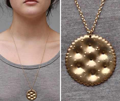 Ritz Cracker Necklace: Wear your snack around your neck. via Neus Nuno