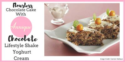 Flourless Chocolate Cake with Annique Chocolate Lifestyle Shake Yoghurt Cream