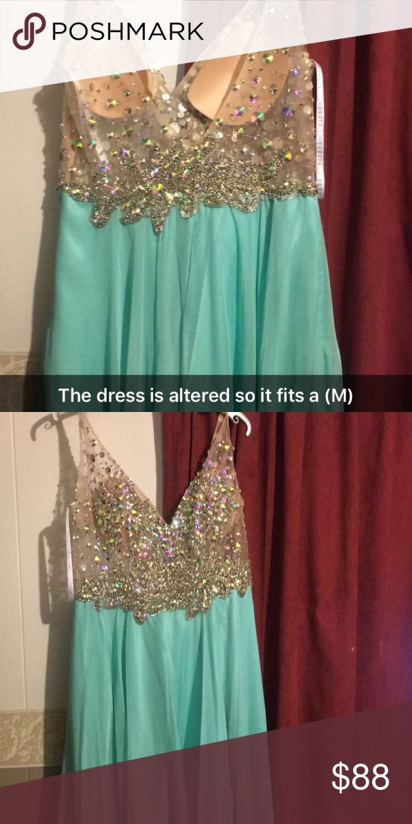 Long glitter dress This dress is altered so it fits and m/l super pretty only worn for an hour Dresses Prom