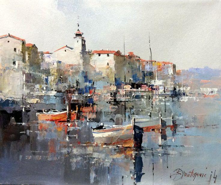 Branko Dimitrijevic, Rovinj, Croatian Coast, Oil on Canvas, 25x30cm