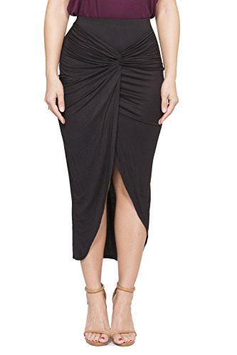 ICONOFLASH Women's Asymmetrical High-Low Tulip Bodycon Midi Skirt (Black, Large)