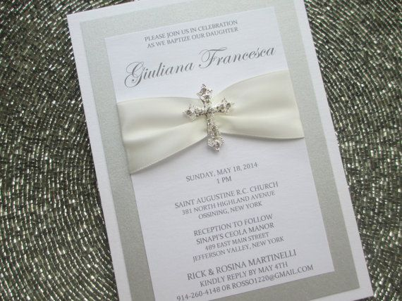 Baptism Invitation with Crystal Cross by PurpleandPlatinum on Etsy, $4.75