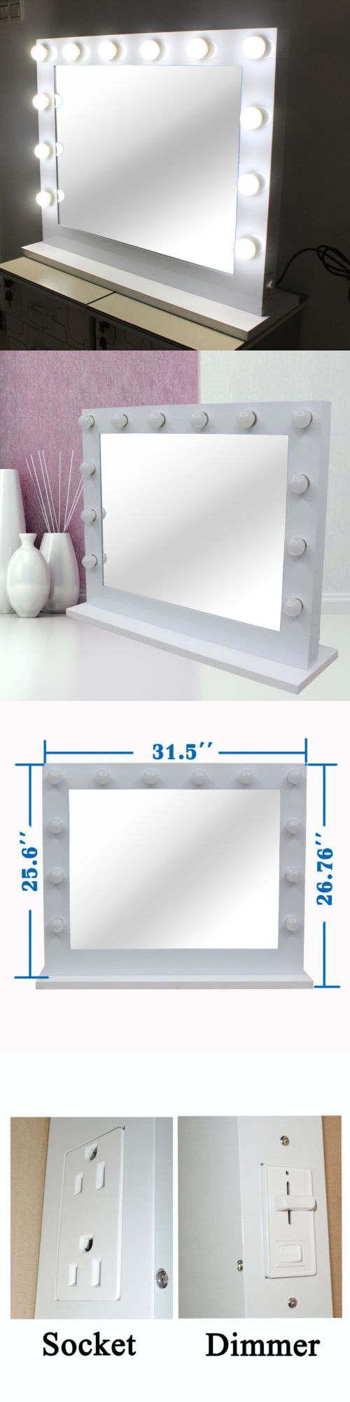 Makeup Mirrors: Hollywood Lighted Makeup Vanity Mirror Aluminum Dimmer White+Free 14 Led Bulbs BUY IT NOW ONLY: $309.99